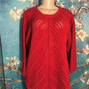 Chelsea & Theodore Red Open Weave Tunic Sweater